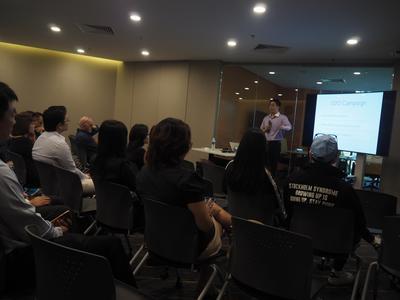 Mr Ebenezer Heng, Director of OnCoffeeMakers giving his talk