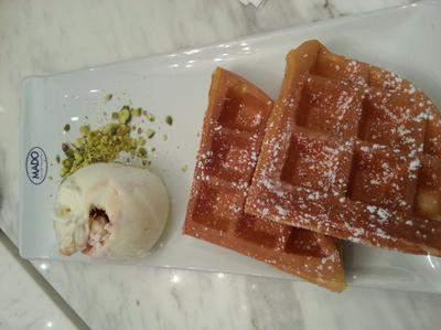 Vanilla Icecream Waffles Cheese Cake at MADO Cafe JEM Jurong East