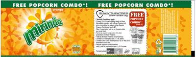 FREE Popcorn set (worth $7.00) from Shaw Theatres- Mirinda Orange Label