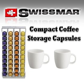 Swissmar 80013 Capstore Fila 40 Wall-Mountable Storage for Nespresso Coffee Capsules with Coffee Mugs